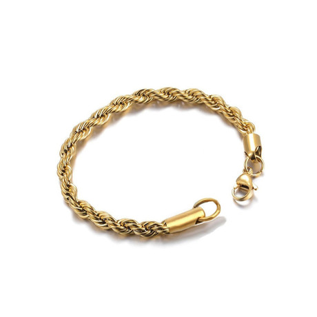 Twisted Wrist Rope Chain Bracelet // 4mm // Yellow