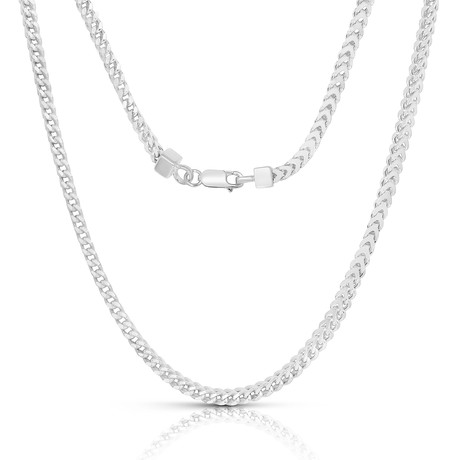 "Sterling Silver + 14K Gold Plated Franco Chain Necklace // 2mm // White (20"")"