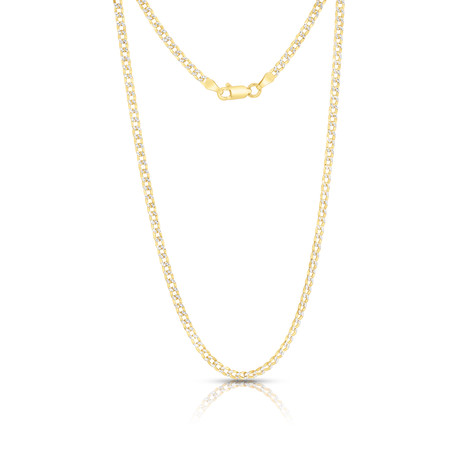 "Sterling Silver + 14K Yellow Plated Curb Chain Necklace // 4mm // Yellow (20"")"