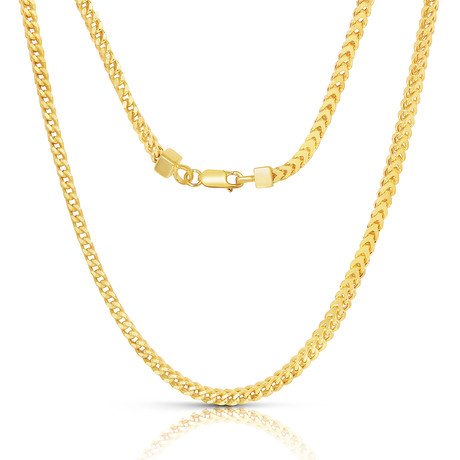 "Sterling Silver + 14K Gold Plated Franco Chain Necklace // 2mm // Yellow (20"")"