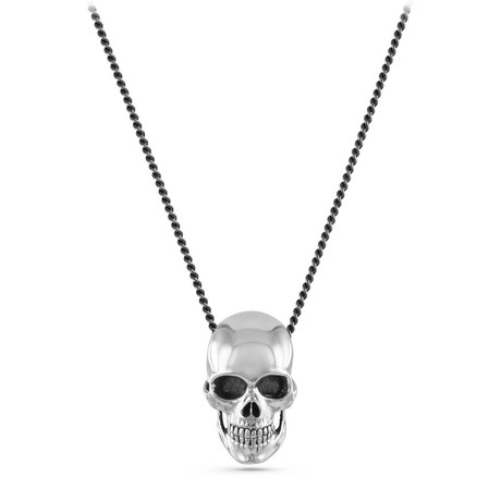 "Human Skull Necklace // White Bronze (20"")"