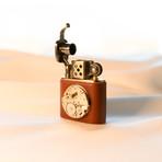 Brass Carved Lift Arm Kerosene Lighter // Silver Metal (Black)