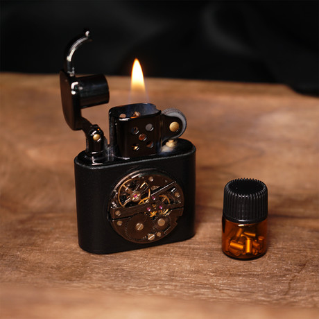 Brass Carved Lift Arm Kerosene Lighter // Black Metal (Saddlebrown)