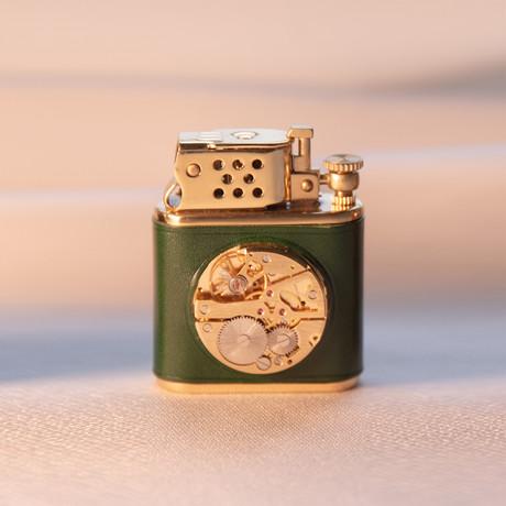 Brass Carved Flint Wheel Kerosene Lighter (Sandybrown)