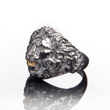Lion Head Ring // Black (10)