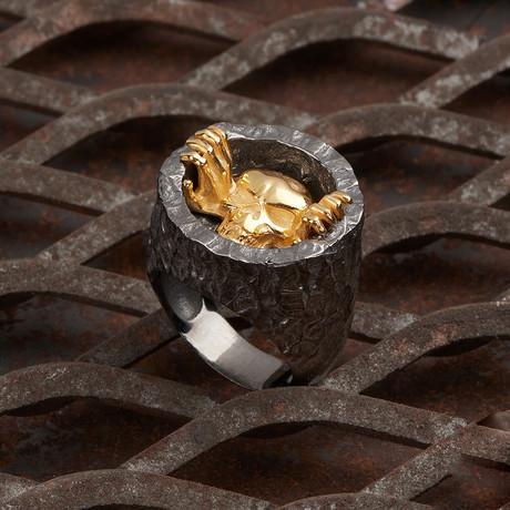 Skull Of Hole Ring // Black + Gold (10)
