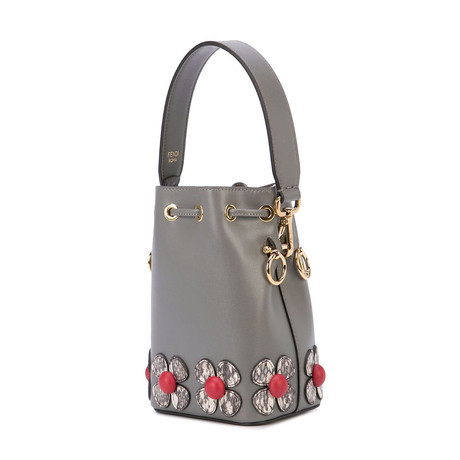 Fendi // Mini Mon Tresor Flower Bucket Shoulder Bag // Gray