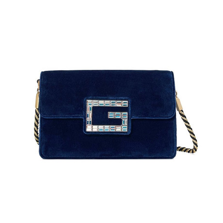 Gucci // Broadway Velvet Shoulder Bag + Jeweled G // Blue