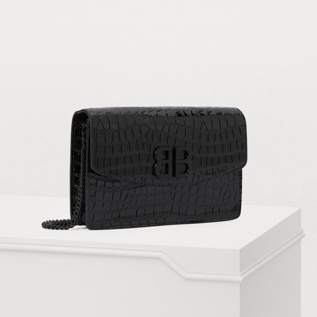 Balenciaga // BB Croc-Embossed Wallet On A Chain // Black