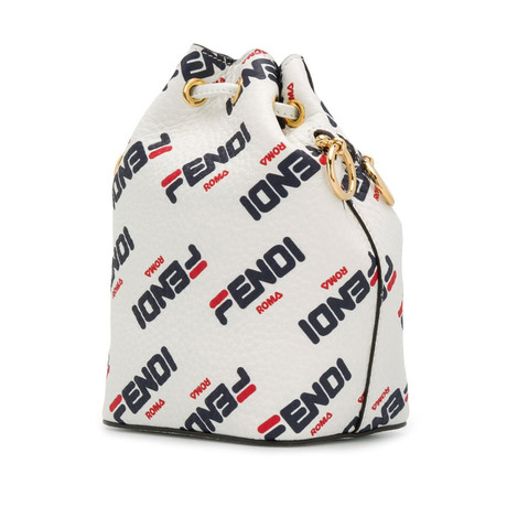 Fendi // Mini Fendimania Mon Tresor Bucket Bag // White + Multicolor