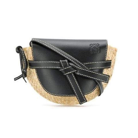 Loewe // Mini Gate Wicker Bag // Black + Natural