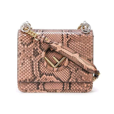 Fendi // Kan I F Logo Small Python Shoulder Bag // Brown + Pink