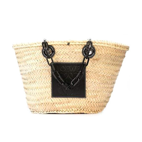 Loewe // Basket Chain Handbag // Natural + Black
