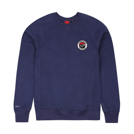 Badge Crewneck Sweatshirt // Navy (S)