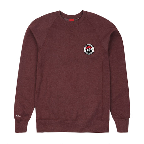 Badge Crewneck Sweatshirt // Plum Marl (S)