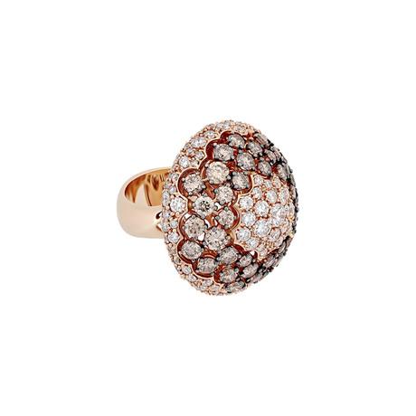 Stefan Hafner 18k Rose Gold White Diamond + Brown Diamond Ring // Ring Size: 6.5