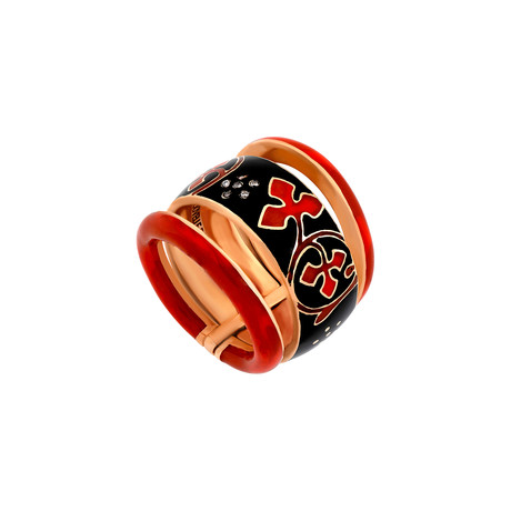 Nouvelle Bague 18k Rose Gold Diamond + Enamel Ring // Ring Size: 7