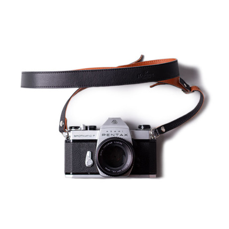 Adjustable Leather Camera Strap (Black)
