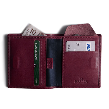 Leather Bifold Wallet With RFID Protection (Burgundy)