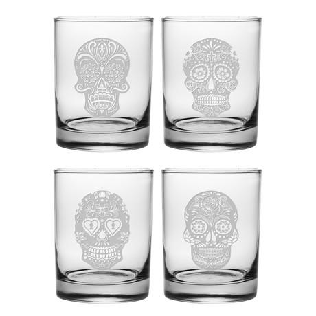 DOR Glasses // Set of 4 // Día De Los Muertos // 14 Fl. Oz