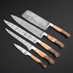 Natural Walnut + Olive Wood Knives // Set of 5