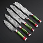 Wild Hunt Green Kitchen Knives // Set of 5
