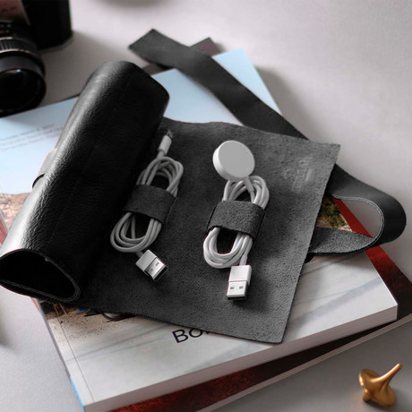 Mini Zip Leather Rollup Cord + Tools Wrap (Black)