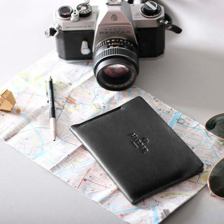 Super Slim Horizontal Passport Wallet (Black)