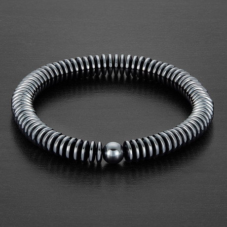 Disc Hematite Stretch Bracelet // Gray
