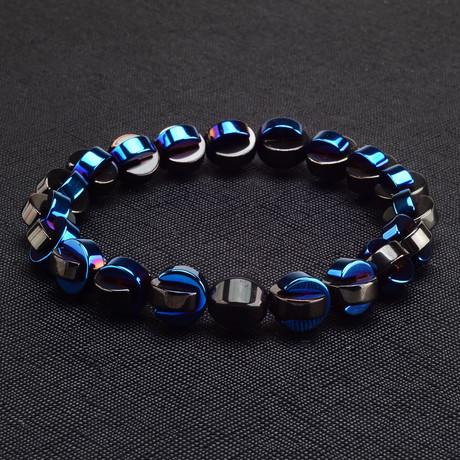 Half Loop Hematite // Black + Blue