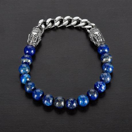 Lapis Lazuli + Buddha Bead Stretch Bracelet // Blue + Silver