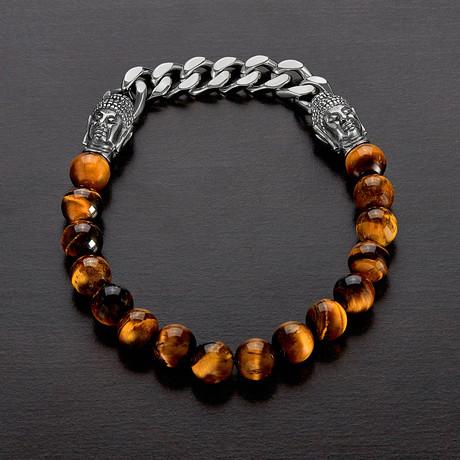 Tiger's Eye + Buddha Bead Stretch Bracelet // Brown + Silver