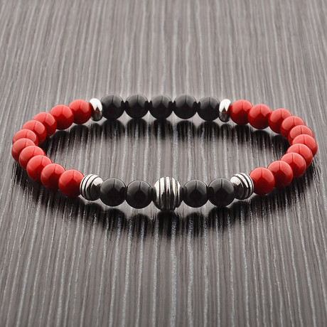 Turquoise + Onyx + Stainless Steel Beaded Bracelet (Red + Black)