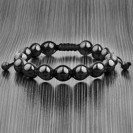 Macrame Bead Adjustable Bracelet (Onyx)