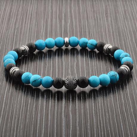 Turquoise + Onyx + Stainless Steel Beaded Bracelet // Blue + Black