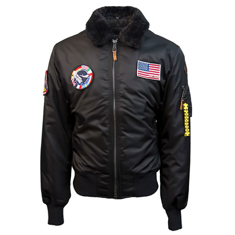 B-15 Bomber Jacket + Removable Patches // Black (S)