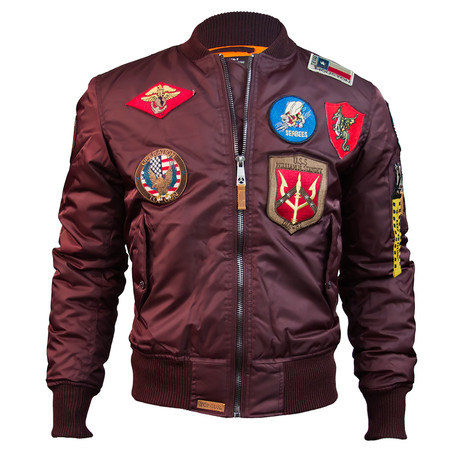 MA-1 Bomber Jacket + Patches // Burgundy (XS)
