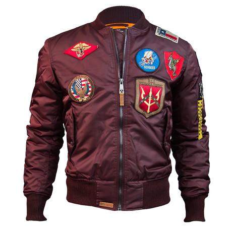 MA-1 Bomber Jacket + Patches // Burgundy (XS)