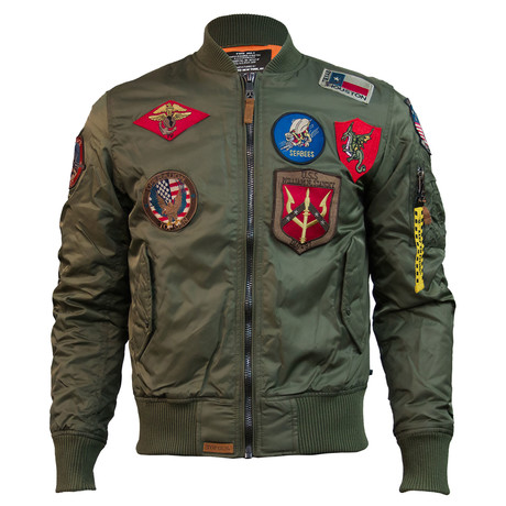 MA-1 Bomber Jacket + Patches // Olive (XS)