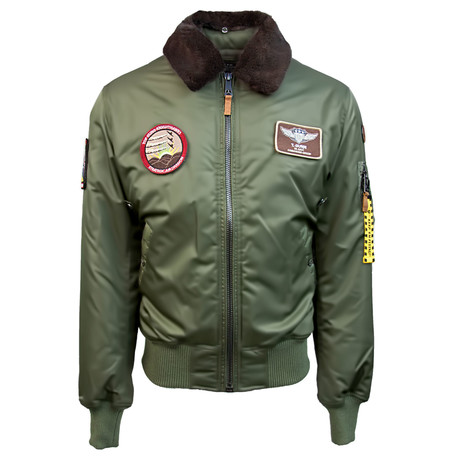 B-15 Bomber Jacket + Removable Patches // Olive (S)