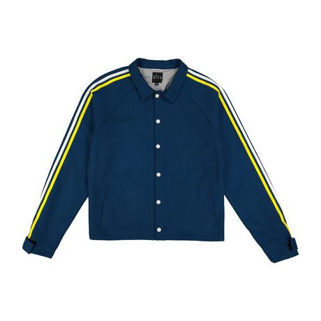 Wool Striped Coach Jacket // Blue (S)