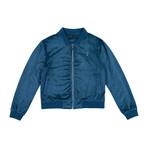 Suede Bomber Jacket // Blue (M)