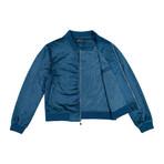 Suede Bomber Jacket // Blue (L)