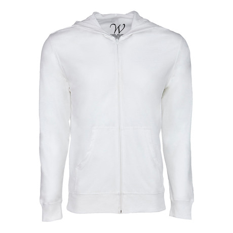 Ultra Soft Seeded Semi-fitted Zip Up Hoodie // White (S)