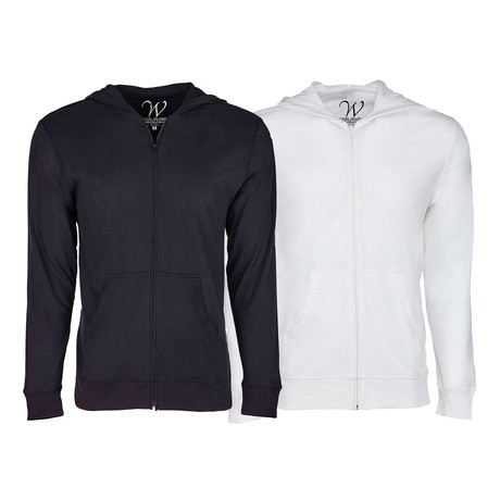 Ultra Soft Seeded Semi-fitted Zip Up Hoodie // Black + White // Pack of 2 (S)