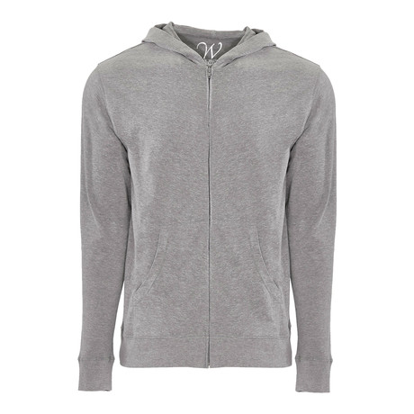Ultra Soft Seeded Semi-fitted Zip Up Hoodie // Heather Gray (S)