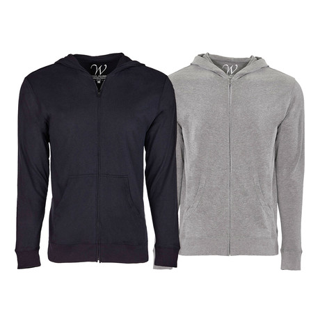 Ultra Soft Sueded Semi-fitted Zip Up Hoodie // Black + Heather Gray // Pack of 2 (S)