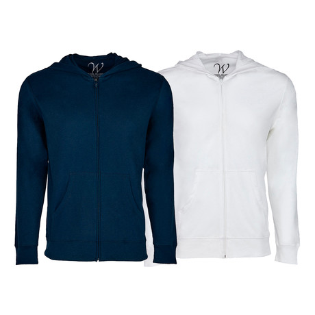 Ultra Soft Seeded Semi-fitted Zip Up Hoodie // Navy + White // Pack of 2 (S)