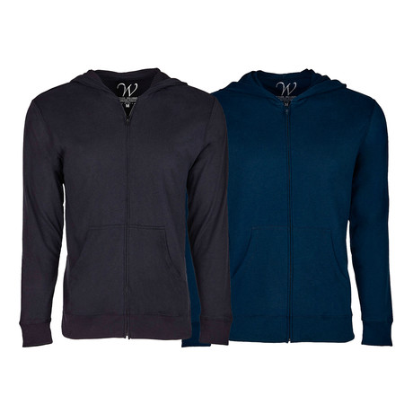 Ultra Soft Sueded Semi-fitted Zip Up Hoodie // Black + Navy // Pack of 2 (S)
