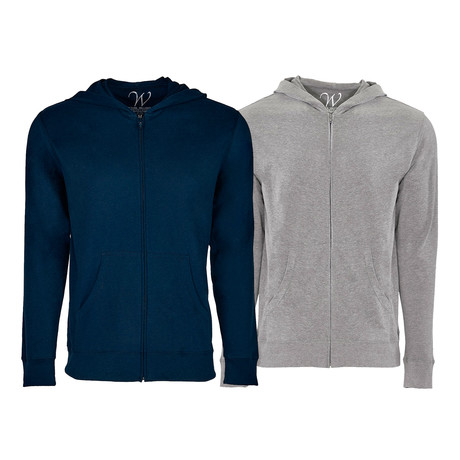 Ultra Soft Sueded Semi-fitted Zip Up Hoodie // Navy + Heather Gray // Pack of 2 (S)